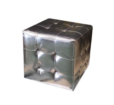 Puff cuadrado plata